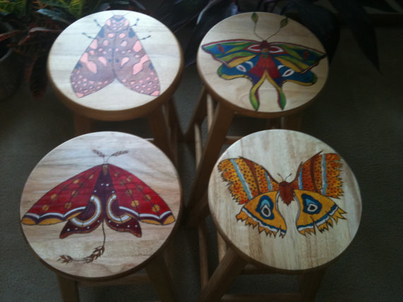 Decorative Wooden Stool Moth by lamaswenson 11 Decorative Wooden Stool Moth by lamaswenson