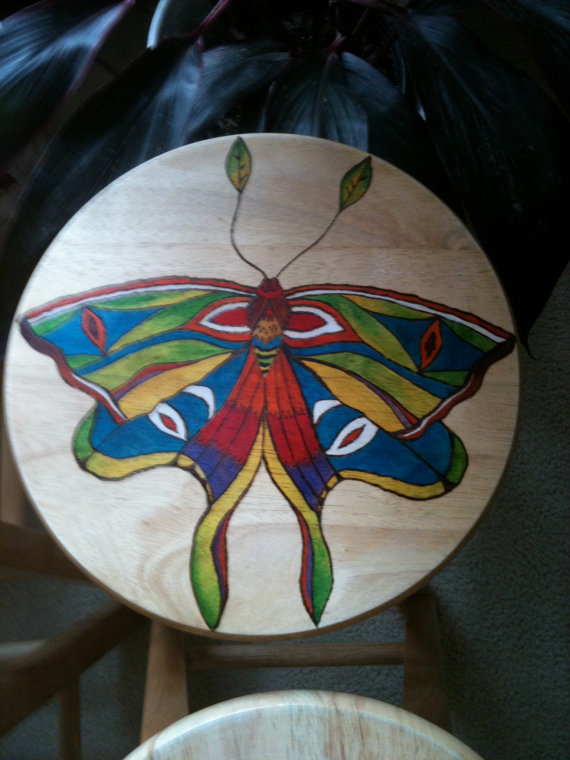 Decorative Wooden Stool Moth by lamaswenson 2 Decorative Wooden Stool Moth by lamaswenson