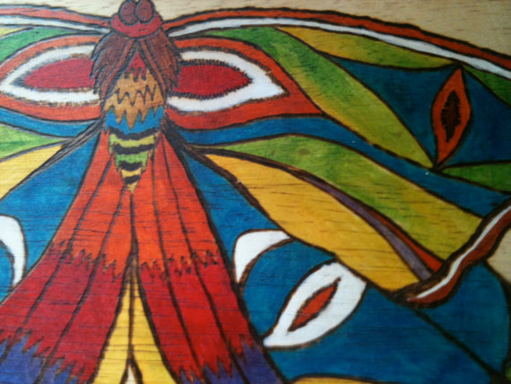 Decorative Wooden Stool Moth by lamaswenson 3 Decorative Wooden Stool Moth by lamaswenson