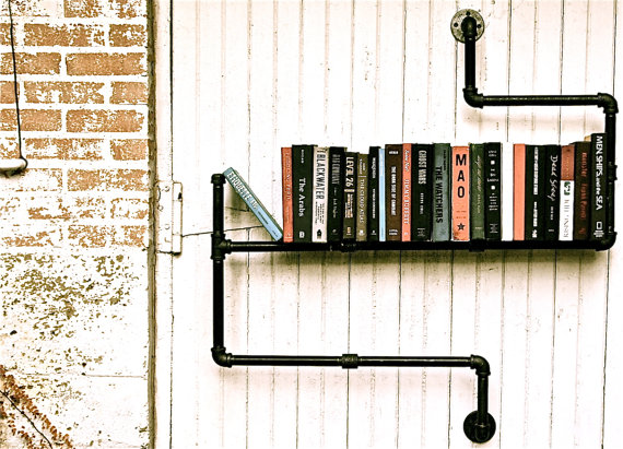 DIY Pipe 3 Level Bookshelf by stellableudesigns 1 DIY Pipe 3 Level Bookshelf by stellableudesigns