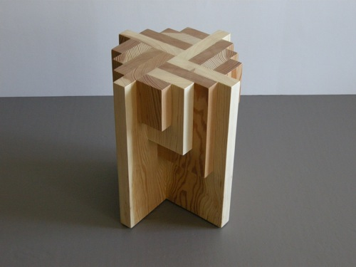 Parquet Pedestal + Table + Stool by Jason Lees