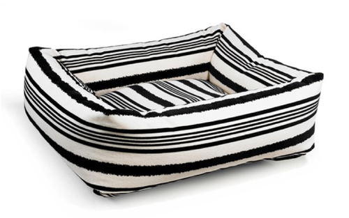 The Dutchie Dog Bed in Tuxedo Stripe by Bowsers